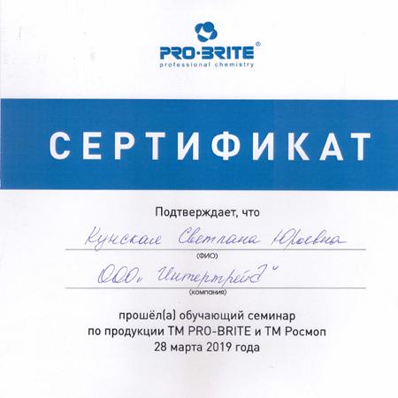Повышение квалификации на семинаре  PRO-BRITE